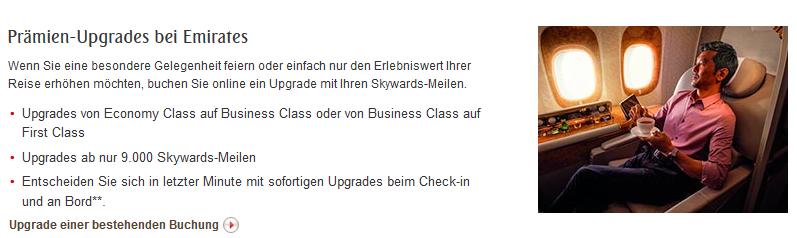 Emirates Skywards Meilenupgrade