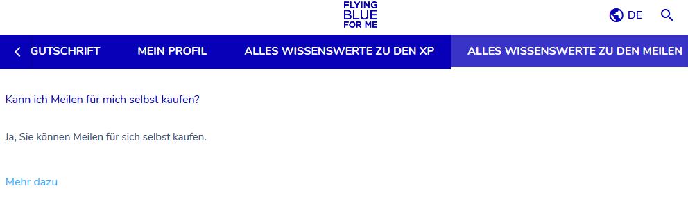 Flying Blue Meilen kaufen