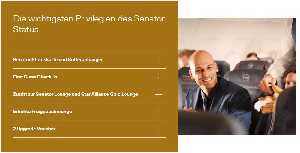 Lufthansa Senator Status - Vorteile Miles More